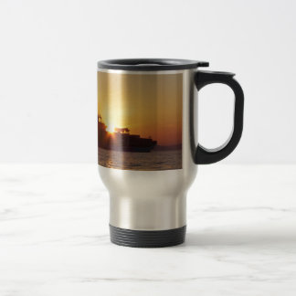 Sun Setting Behind A Container Ship Travel Mug