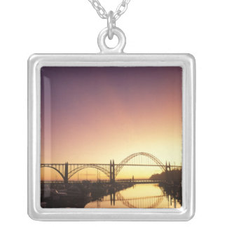 Sun setting behind the Newport Bridge, Oregon Silver Plated Necklace