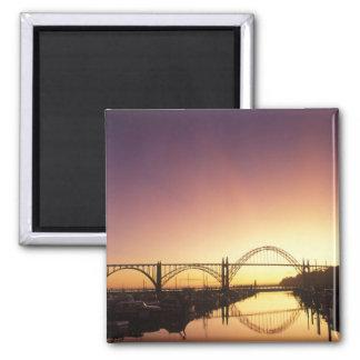 Sun setting behind the Newport Bridge, Oregon Square Magnet