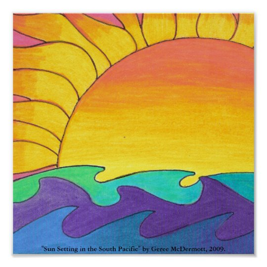 """Sun Setting in the South Pacific"""" Poster"""