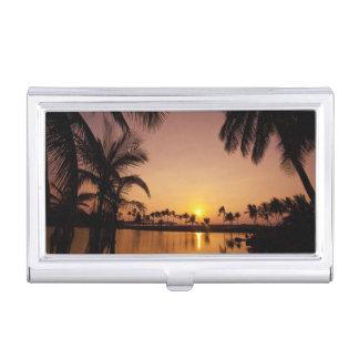 Sun setting on Anaeho'omalu Bay, Big Island, Business Card Holder