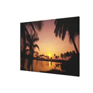 Sun setting on Anaeho'omalu Bay, Big Island, Canvas Print