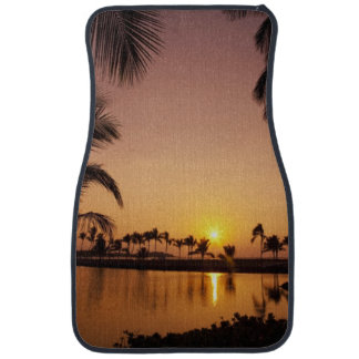Sun setting on Anaeho'omalu Bay, Big Island, Car Mat