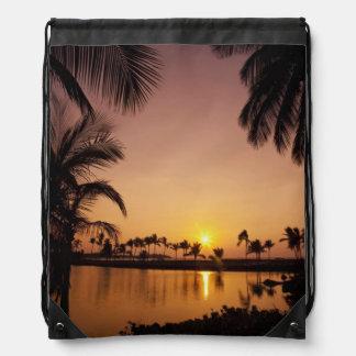 Sun setting on Anaeho'omalu Bay, Big Island, Drawstring Bag
