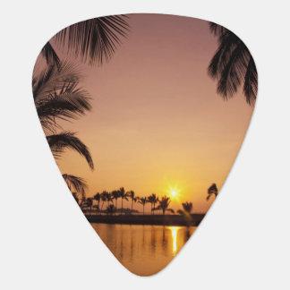 Sun setting on Anaeho'omalu Bay, Big Island, Guitar Pick