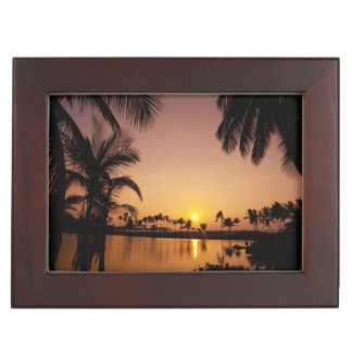 Sun setting on Anaeho'omalu Bay, Big Island, Keepsake Boxes