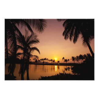 Sun setting on Anaeho'omalu Bay, Big Island, Photo Print