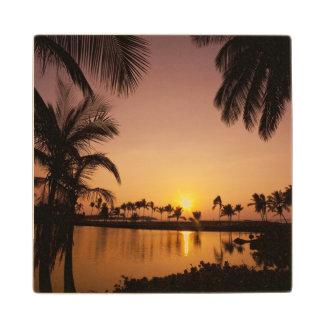 Sun setting on Anaeho'omalu Bay, Big Island, Wood Coaster