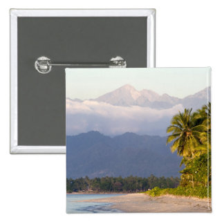 Sun Setting On Volcano With Tropical Beach 15 Cm Square Badge