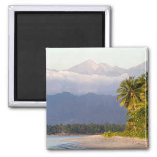 Sun Setting On Volcano With Tropical Beach Magnet