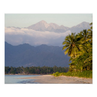Sun Setting On Volcano With Tropical Beach Poster