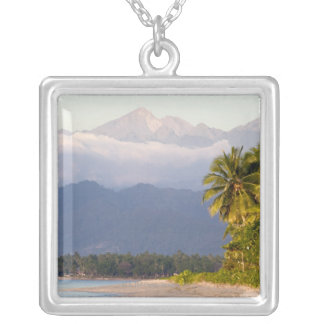 Sun Setting On Volcano With Tropical Beach Silver Plated Necklace