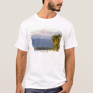 Sun Setting On Volcano With Tropical Beach T-Shirt