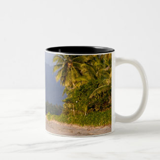 Sun Setting On Volcano With Tropical Beach Two-Tone Coffee Mug