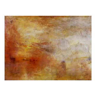 Sun setting over a lake by Joseph Mallord Turner Poster