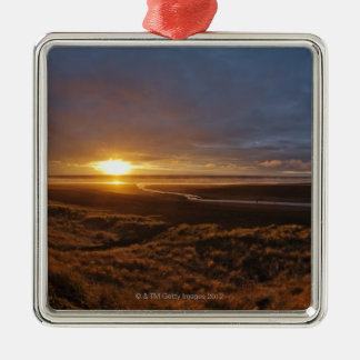 Sun setting over Tasman Sea and Piha Beach, West Christmas Ornament
