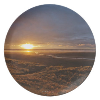 Sun setting over Tasman Sea and Piha Beach, West Plate