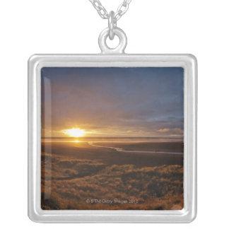Sun setting over Tasman Sea and Piha Beach, West Silver Plated Necklace