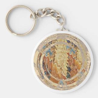 Sun Shine Golden Flames Basic Round Button Key Ring