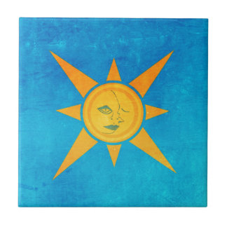 Sun Shining, Moon Sleeping--sun and moon symbol Small Square Tile