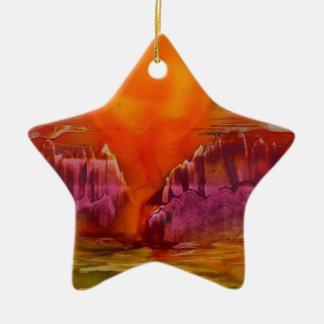 Sun shining on lake ceramic star decoration