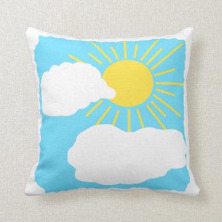 Sun shining through clouds. cushion