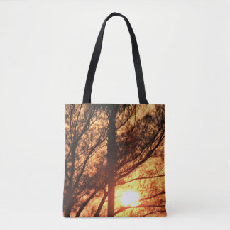 Sun Shining Through Palm Trees Tote Bag