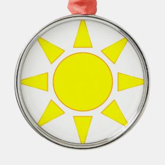 Sun Silver-Colored Round Decoration