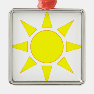 Sun Silver-Colored Square Decoration