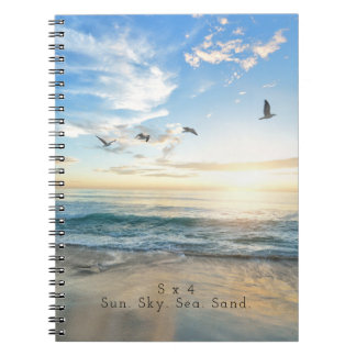 Sun. Sky. Sea. Sand. Beach Scene Spiral Notebook