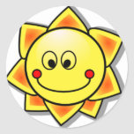 Sun Smiley, Happy Sun Round Stickers