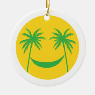 sun smiley with palm trees and hammock christmas ornament
