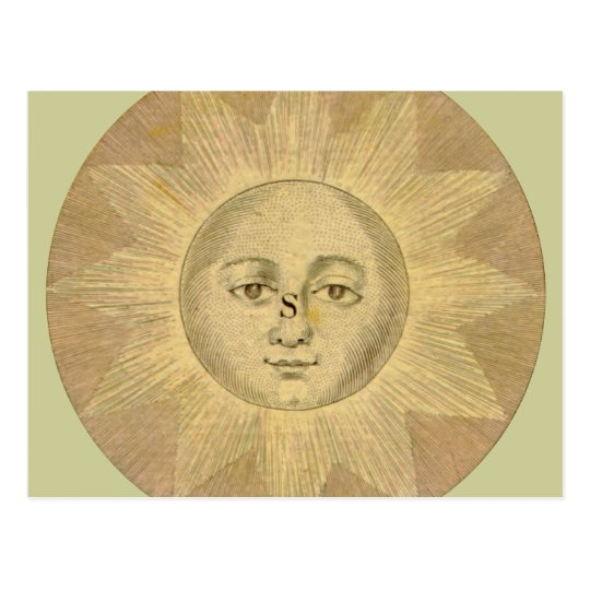 Sun - Solar Detail from Antique Map circa 1780 Postcard