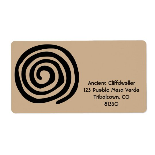 Sun Spiral Native American Tribal Rock Art Shipping Label