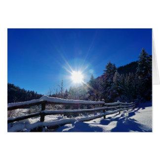 Sun Star Winter Scene Christmas Greeting Card