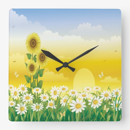 Sun, Sunflowers, White Flowers Wall Clock