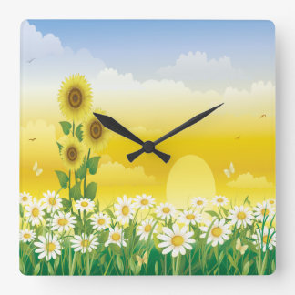 Sun, Sunflowers, White Flowers Square Wall Clock