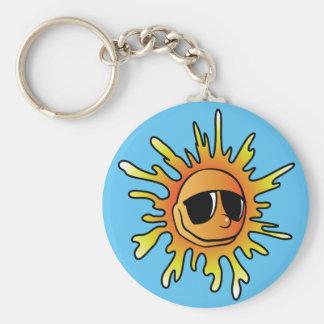 Sun Sunglasses Basic Round Button Key Ring