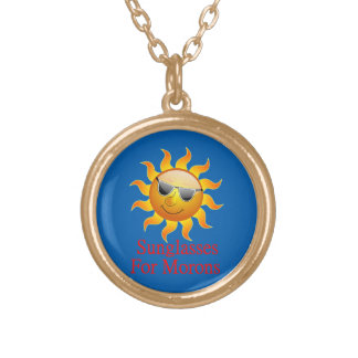 Sun Sunglasses for Morons Round Pendant Necklace