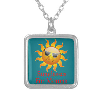 Sun Sunglasses for Morons Silver Plated Necklace