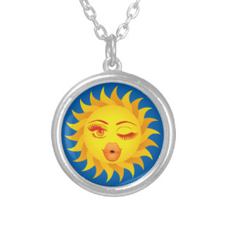 Sun Symbol Silver Plated Necklace
