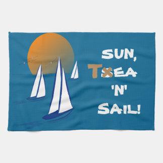 Sun, T$ea 'N' Sail! Coastal Yachts Kitchen Towels