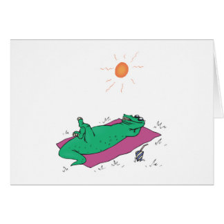 sun tanning crocodile card