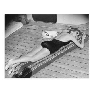 Sun Tanning Woman Postcard