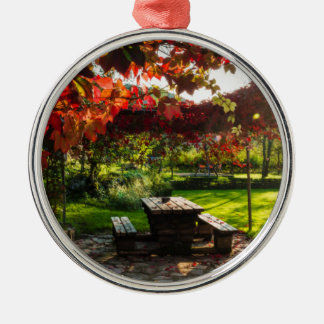 Sun through autumn leaves, Croatia Silver-Colored Round Decoration
