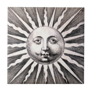 Sun Tile Vintage Woodcut Sun Illustration