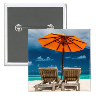 Sun Umbrella On Sandy Beach |Maldives 15 Cm Square Badge