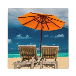 Sun Umbrella On Sandy Beach  Maldives Wood Coaster