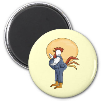 Sun Up Rooster 6 Cm Round Magnet