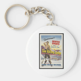 Sun Valley Lodge Idaho Basic Round Button Key Ring